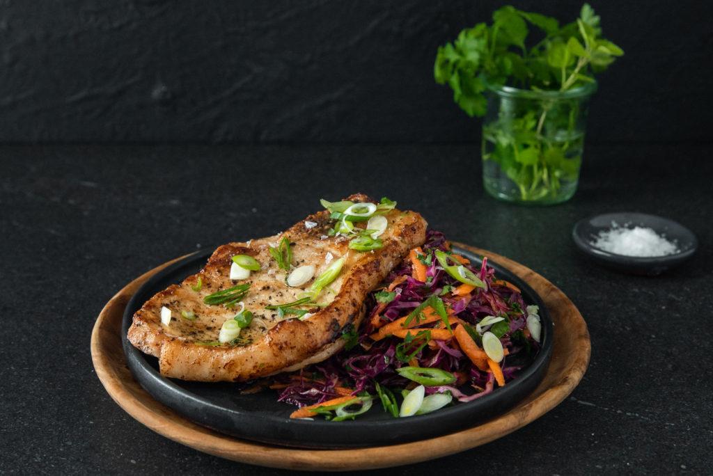 Grilled Pork Chops & Coleslaw