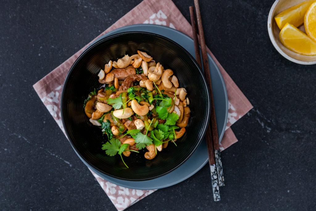 Pork, Mushroom & Cashew Stir-Fry