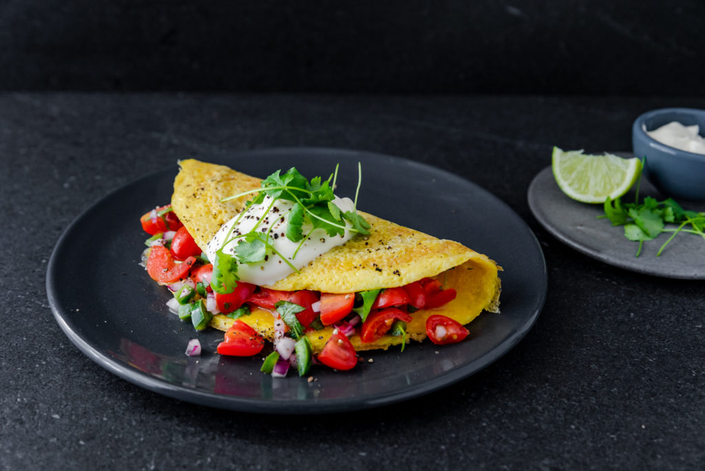 Sour Cream & Salsa Omelet
