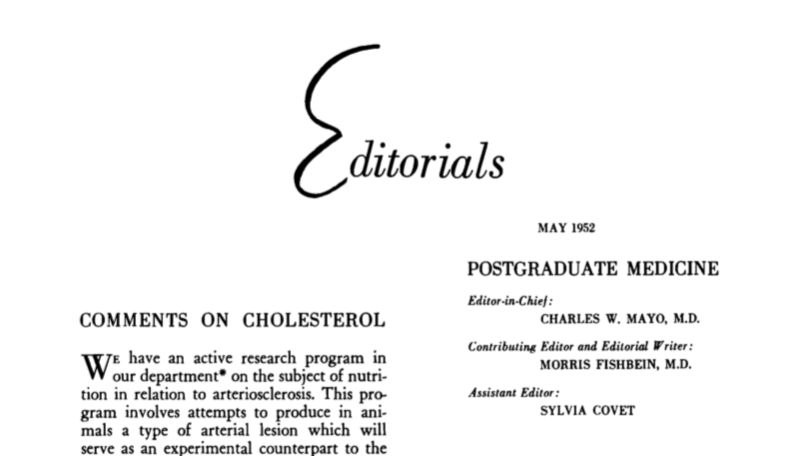Editorials on cholesterol