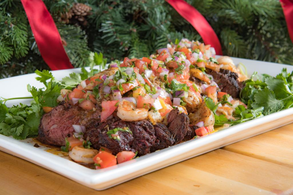 Beef and Shrimp Tampiqueña With Christmas Pico
