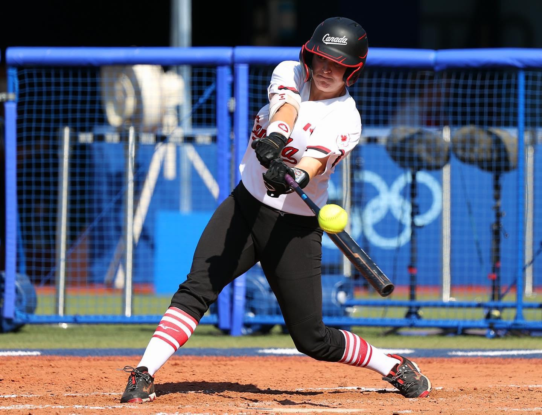 Canadian women's Olympic softball team member Kelsey Harshman at bat.